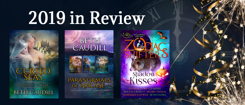 2019 Review - Covers of books published in 2019  Cursed Seas Paranormals of Arilase Box Set Shadow Kisses Anthology - includes Reconciled (Willows Haven #2.5)